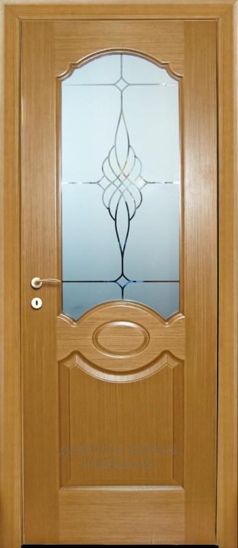 Двери шпонированные МАРИАМ Милано со стеклом Светлый дуб